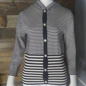 Chaps Striped Button Down Sweater w/ Hood